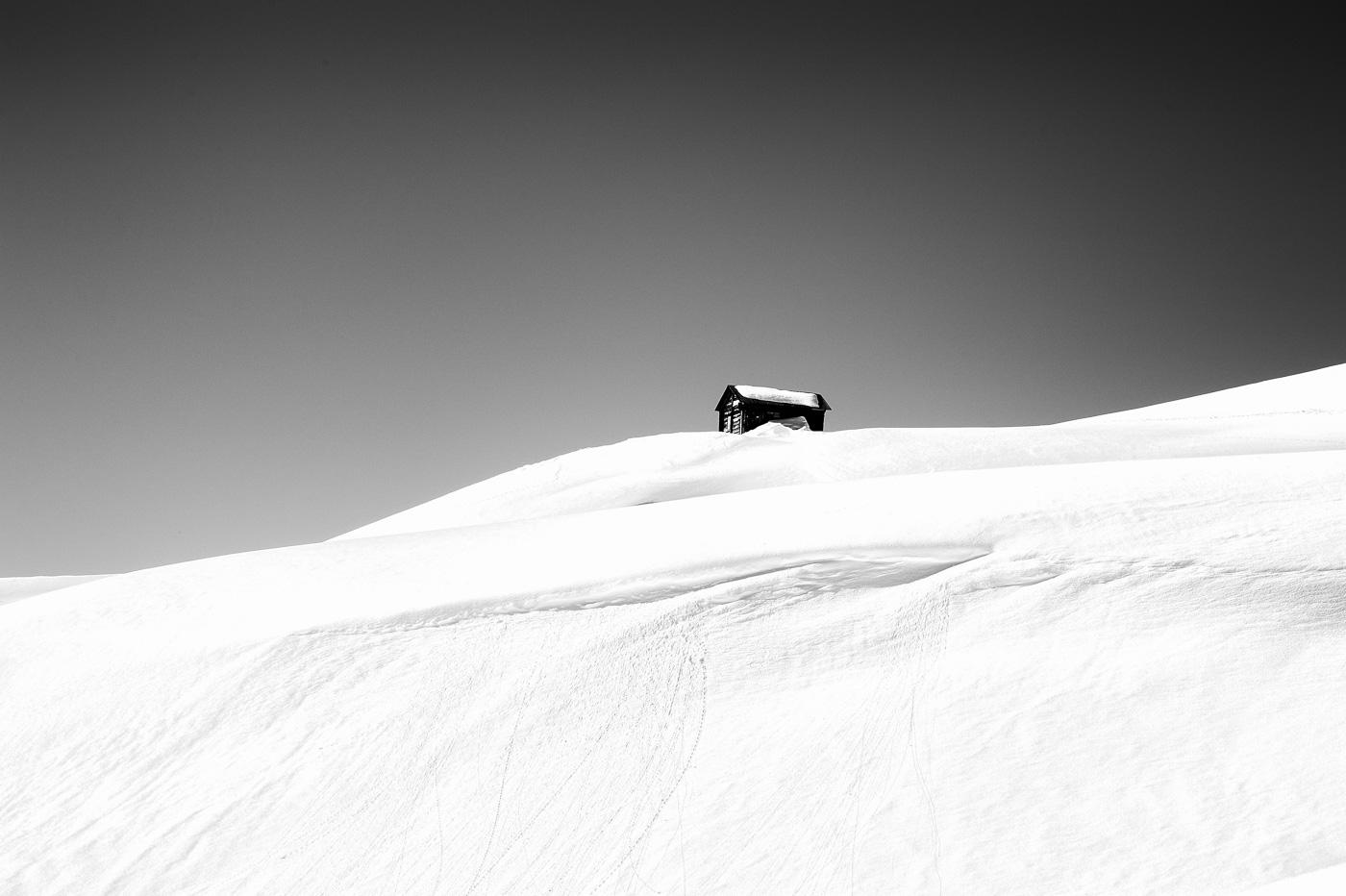 Hut in the snow, Verbier, Switzerland, snowy landscape