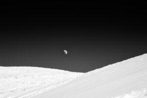 The moon, Verbier, Switzerland snowy landscape